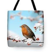 Robin And Cotoneaster With Snow Tote Bag