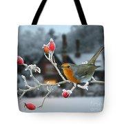 Robin And Rose Hips Tote Bag