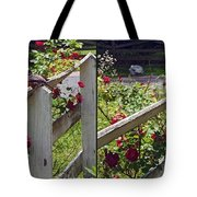 Robin And Roses - Gently Cross Your Eyes And Focus On The Middle Image That Appears Tote Bag