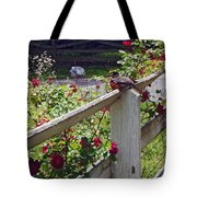 Robin And Roses Tote Bag