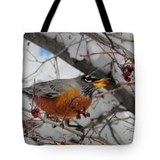 Robin Eating A Berry Tote Bag