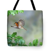 Robin Flying To Nest Tote Bag
