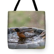 Robin In Bird Bath New Jersey  Tote Bag
