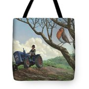 Robin In Field Looking At Farmer Tote Bag by Martin Davey