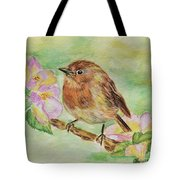 Robin In Flowers Tote Bag