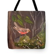 Robin In The Forest Tote Bag