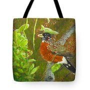 Robin In The Serviceberry Bush Tote Bag