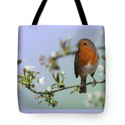 Robin On Cherry Blossom Tote Bag