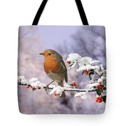 Robin On Cotoneaster With Snow Tote Bag