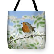 Robin On Frosty Briar Tote Bag