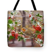 Robin On Holly Twigs Tote Bag