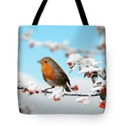 Robin On Snowy Cotoneaster Tote Bag