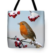 Robin On Winter Cotoneaster Tote Bag