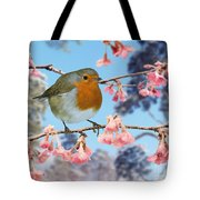 Robin On Winter Flowering Plum Tote Bag