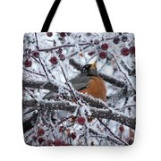 Robin Perched In Crabapple Tree Tote Bag