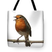 Robin Singing On Branch Tote Bag