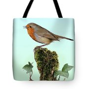 Robin Singing On Ivy-covered Stump Tote Bag
