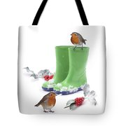 Robins And Green Wellies Tote Bag