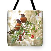 Robins In Holly Tote Bag