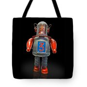 Robo Space Toys Knockout On Black Tote Bag