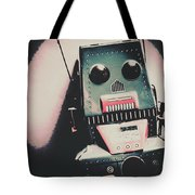 Robotic Mech Under Vintage Spotlight Tote Bag