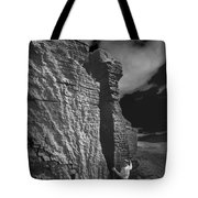 Rock Climber Monochrome Landscape  Tote Bag