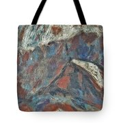 Rock Landscape Abstract  Fall Waves And Forests Swirling In The Background In Red Blue Orang Tote Bag