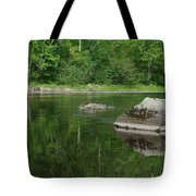 Rock Reflection In The River Tote Bag