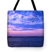 Rockaway Point Dock Sunset Violet Orange Tote Bag