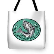 Rockfish Jumping Color Oval Drawing Tote Bag