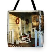 Rocking Chair On Side Porch Tote Bag