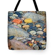 Rocks Of Many Colors On Lake Superior Shoreline In Pictured Rocks National  Tote Bag
