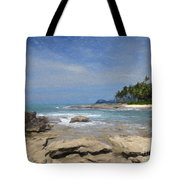 Rocks Trees And Ocean Tote Bag