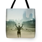 Rocky At The Top Of The Steps Tote Bag by Bill Cannon