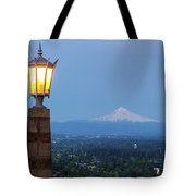 Rocky Butte Viewpoint With Mount Hood During Evening Blue Hour Tote Bag