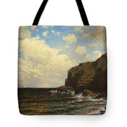 Rocky Coast With Breaking Wave Tote Bag