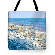 Rocky Lake Superior Shoreline Near North Country Trail In Pictured Rocks National Lakeshore-michigan Tote Bag