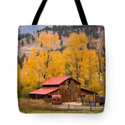 Rocky Mountain Autumn Ranch Landscape Tote Bag