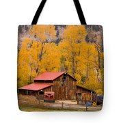 Rocky Mountain Barn Autumn View Tote Bag