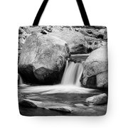 Rocky Mountain Canyon Waterfall In Black And White Tote Bag