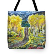 Rocky Mountain Road Tote Bag by Aaron Spong