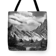 Rocky Mountain Tranquil Escape In Black And White Tote Bag