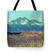 Rocky Mountain Twin Peaks Wood Fence View Tote Bag