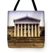 Rocky On The Art Museum Steps Tote Bag