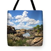 Rocky Shore And Pristine Water Tote Bag