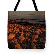 Rocky Shoreline And Islands At Sunset Tote Bag