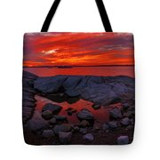 Rocky Shoreline At Sunset Tote Bag