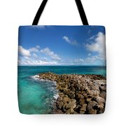Rocky Shoreline On The Beach At Atlantis Resort Tote Bag