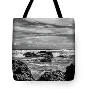 Rocky Waters In Bw Tote Bag