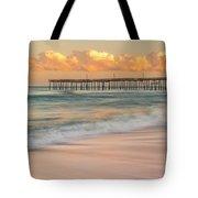 Rodanthe Fishing Pier Sunset On The Outer Banks In Carolina Panorama Tote Bag